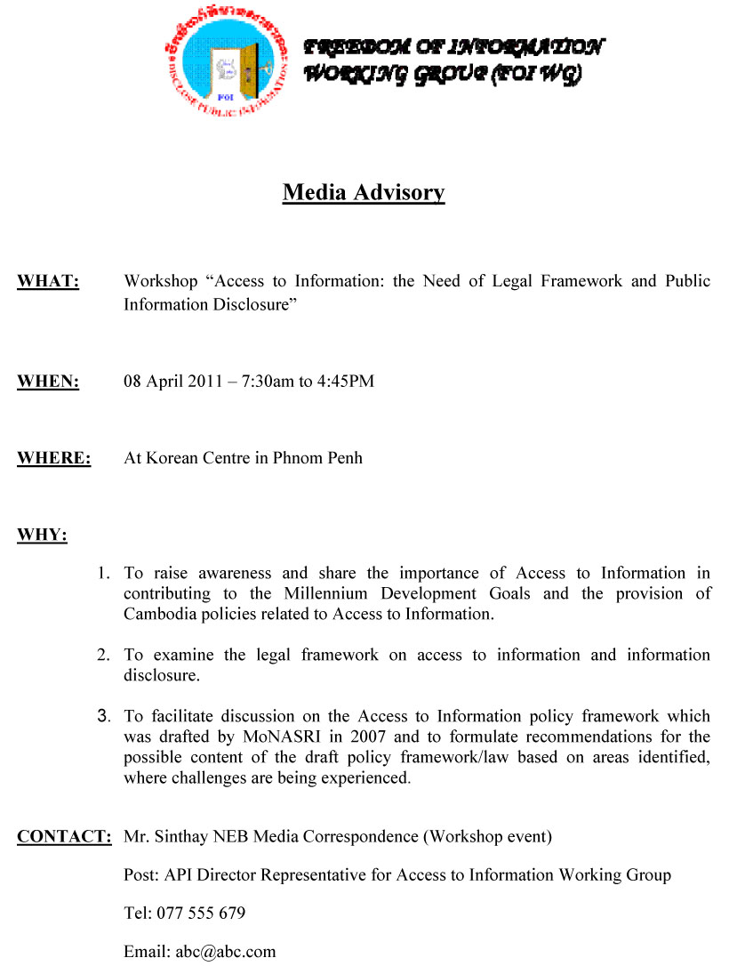 Press advisory template final crisis communications for Media alert template